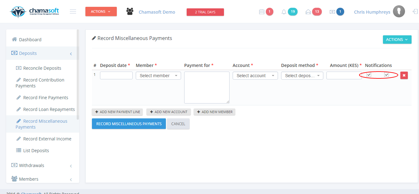 Fig 2: Miscellaneous Payments Notification